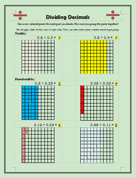 Dividing Decimals On Grids Worksheets & Teaching Resources | TpT