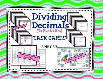 Dividing Decimals to Hundredths Task Cards