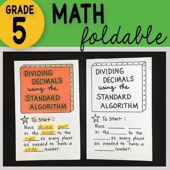 Dividing Decimals using the Standard Algorithm Math Foldable