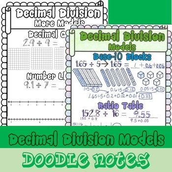 Dividing Decimals w/ Models-Doodle Notes - (TEKS 5.3F and CCSS 5.NBT.B.7)