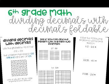 Dividing Decimals with Decimals Foldable