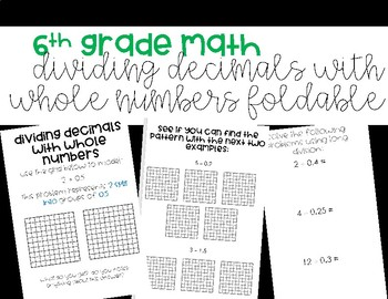 Dividing Decimals with Whole Numbers Foldable