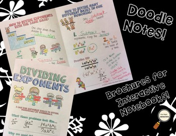 Dividing Exponents - Decorated Notes Brochure for Interactive Notebooks