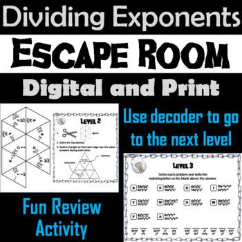 Dividing Exponents Game: Algebra Escape Room Math Activity