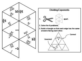 Dividing Exponents Game: Math Tarsia Puzzle