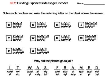 Dividing Exponents Worksheet: Math Message Decoder