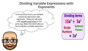 Dividing Expressions with Exponents - PowerPoint Lesson and Printables!