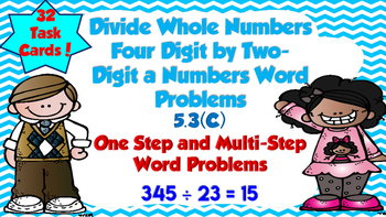 Dividing Four Digit by Two Digit Task Cards