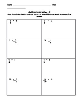 Dividing Fraction Quiz-MODIFIED VERSION B