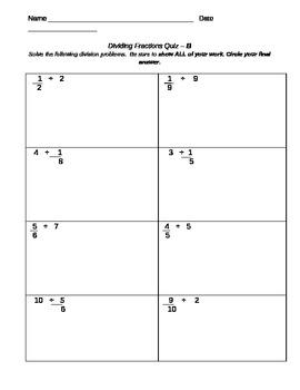 Dividing Fraction Quiz-MODIFIED VERSION B