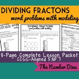 Dividing Fraction Word Problems with Modeling: 8 page Practice Packet, 5.NF.7