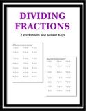 Dividing Fractions 2 Worksheets and Answer Keys