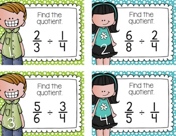 Dividing Fractions Task Cards for Centers, Review, Scoot, & Test Prep