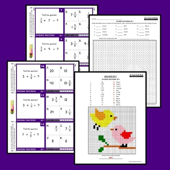 Dividing Fractions Task Cards/Flip Cards Mystery Pictures