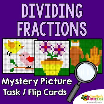 Dividing Fractions Color Sheet and Task Cards, Fraction Division Center