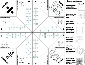 Dividing Fractions Practice Game for 4th 5th 6th Grade