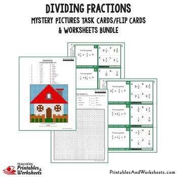 Dividing Fractions Task Cards and Worksheets Bundle
