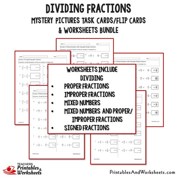 Dividing Fractions Worksheets Bundle With Fraction Division Worksheets