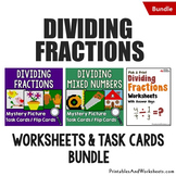 Dividing Fractions Task Cards and Worksheets Bundle