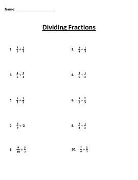 Dividing Fractions Worksheet by Homemade MS | Teachers Pay ...