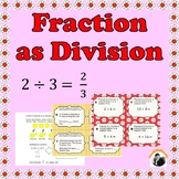 Dividing Fractions 5th Grade - Concept of Fraction as Division Task Cards