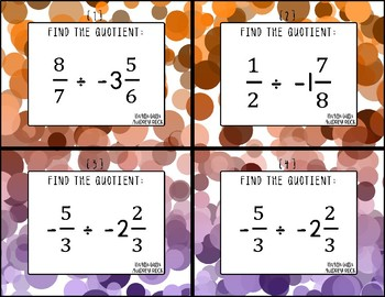 Dividing Fractions 7th Grade Math Task Cards