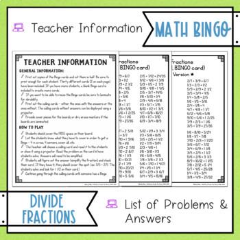 Dividing Fractions BINGO Math Game