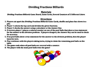 Dividing Fractions Billiards - A 2-Player Game to Practice Dividing Fractions
