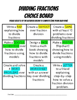 Dividing Fractions Choice Board