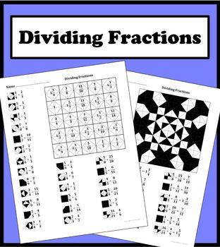 Dividing Fractions Color Worksheet