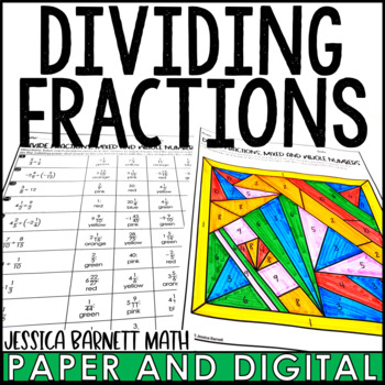 Dividing Fractions Coloring Page Activity