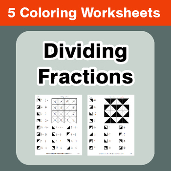 Dividing Fractions - Coloring Worksheets