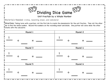 Dividing Fractions Dice Games