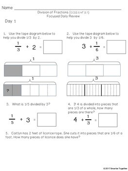Dividing Fractions - Focused Daily Review - Common Core - 5th Grade