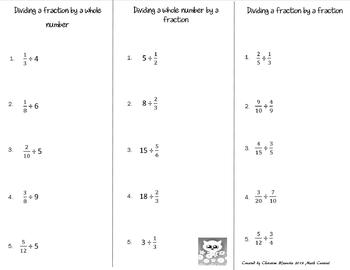 Dividing Fractions Print n' Fold (Foldable) Interactive Notebook