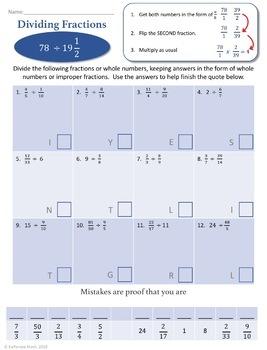 Dividing Fractions:  Full Worksheet Set