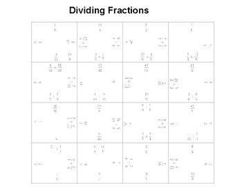 Dividing Fractions Fun Square Puzzle Activity