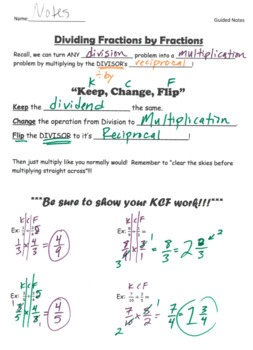 Dividing Fractions GUIDED NOTES