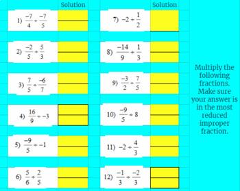 Dividing Fractions - Google Classroom Ready!  Self Grading