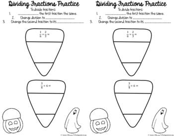Dividing Fractions Halloween Activity
