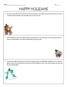Dividing Fractions Holiday Word Problems