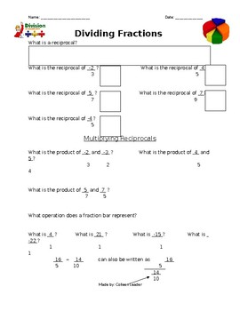 Dividing Fractions Lesson Hand-out