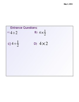 Dividing Fractions Lesson Notes