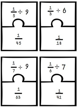 Dividing Fractions Matching Game