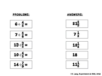 dividing fractions matching worksheet level   divide whole number  dividing fractions matching worksheet level   divide whole number by  fraction
