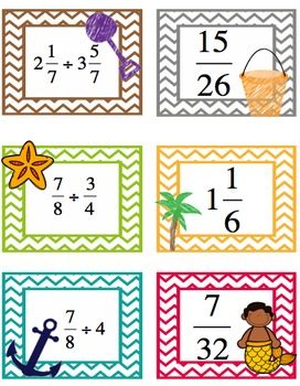 Dividing Fractions Matching/Memory Activity - Summer Themed