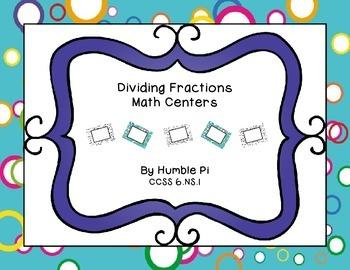 Dividing Fractions Math Centers- 6.NS.1