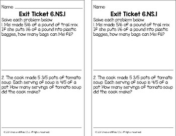 Dividing Fractions Math Tasks and Exit Tickets