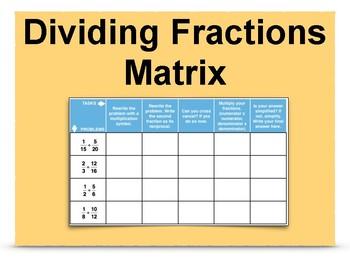 Dividing Fractions Matrix 6.NS.1