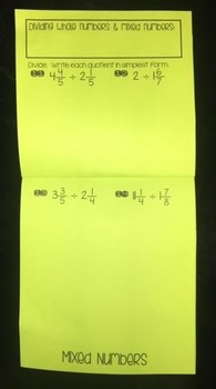 Dividing Fractions & Mixed Numbers (Foldable)